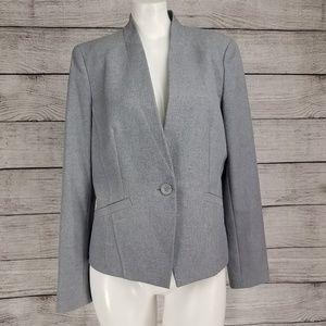 Nine West 8 One Button Blazer Suit Jacket Gray